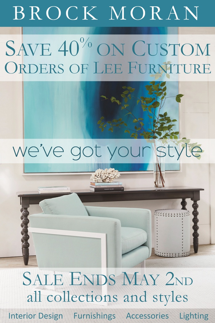 Spring sale event save 40 on custom orders of lee furniture through may 2nd